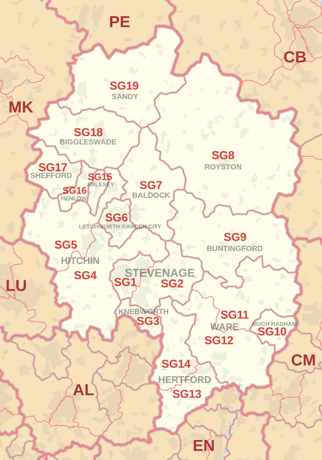 Map of SG and Stevenage